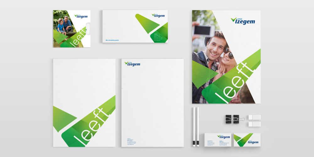 Restyling logo en opfrisbeurt communicatie voor Stad Izegem