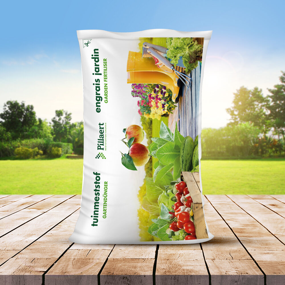 universele tuinmeststof van Pillaert. Ontwerp verpakking